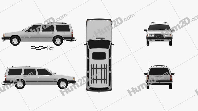 Volvo 745 kombi 1985 car clipart