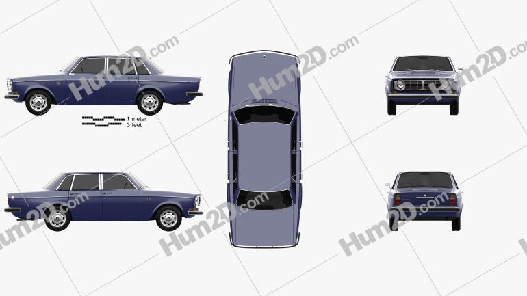 Volvo 144 sedan 1967 Clipart Image
