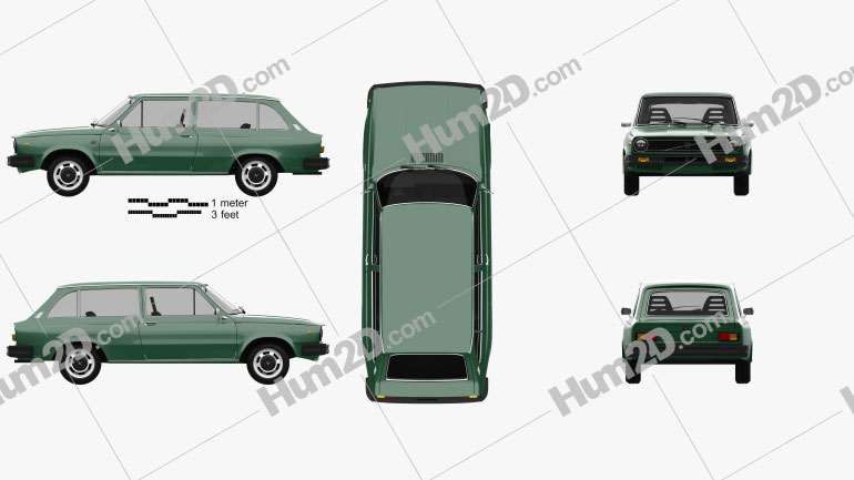 Volvo 66 DL Kombi 1975 car clipart