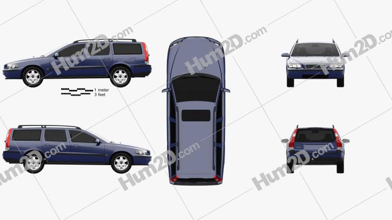 Volvo V70 2000 car clipart