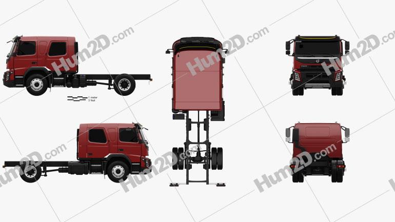 Volvo FMX Crew Cab Fahrgestell LKW 2014 clipart