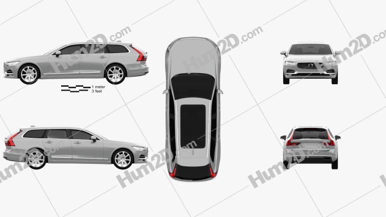 Volvo V90 T6 Inscription 2016 car clipart