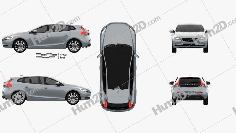 Volvo V40 T4 Momentum 2016 car clipart