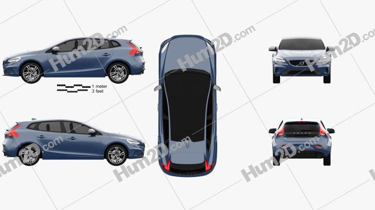 Volvo V40 T5 R-Design 2016 car clipart
