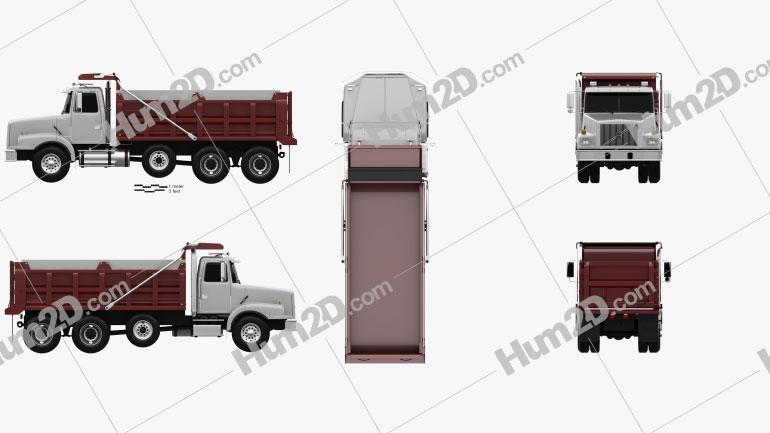 Volvo WG Dump Truck 4-axle 2007 clipart
