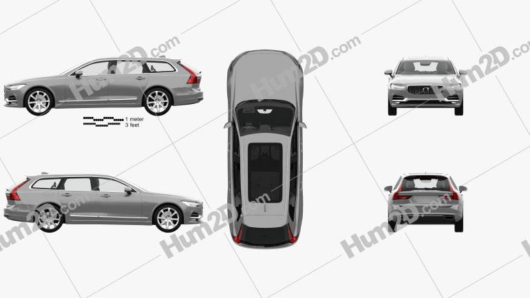 Volvo V90 T6 Inscription with HQ interior 2016 car clipart