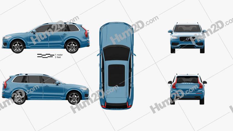 Volvo XC90 D5 R-Design 2016 Clipart Image