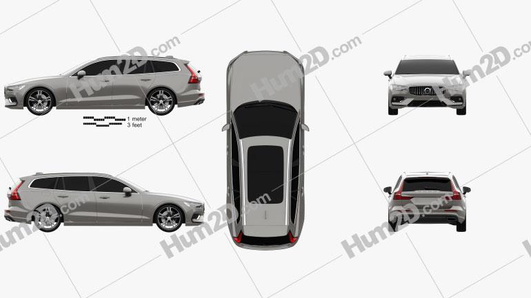Volvo V60 T6 Inscription 2018 car clipart