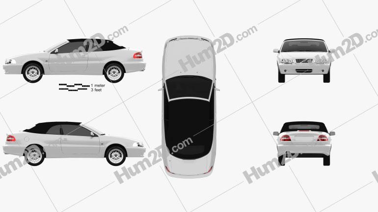 Volvo C70 convertible 1999 car clipart