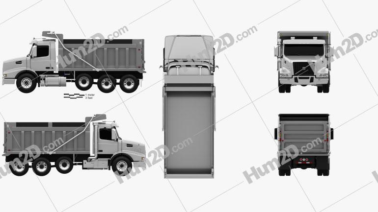 Volvo VHD Dump Truck 4-axle 2018 clipart