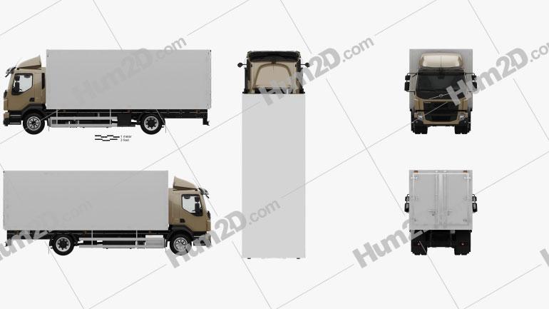 Volvo FL Box Truck with HQ interior 2013 Clipart Image