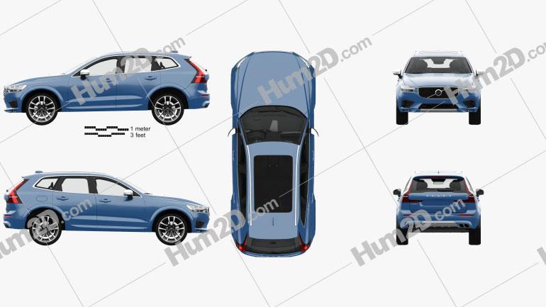 Volvo XC60 T6 R-Design with HQ interior 2017 car clipart