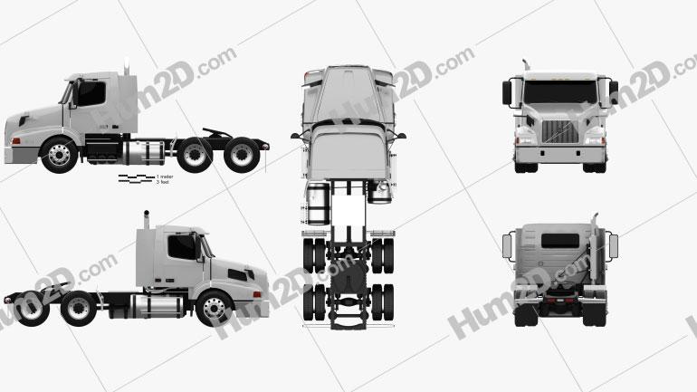 Volvo VNL WIA64T Day Cab Tractor Truck 2000 clipart