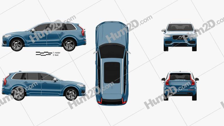 Volvo XC90 T6 R-Design 2016 car clipart