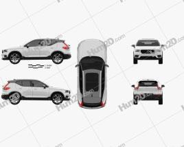 Volvo XC40 T5 R-Design 2018 car clipart