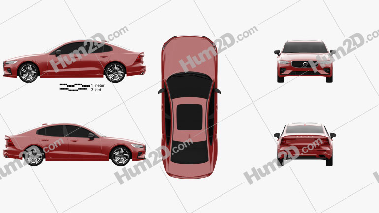 Volvo S60 T6 R-Design 2019 car clipart