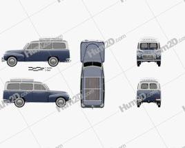 Volvo PV445 PH Duett 1958 car clipart