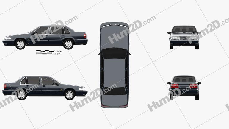 Volvo 960 sedan 1994 Clipart Image