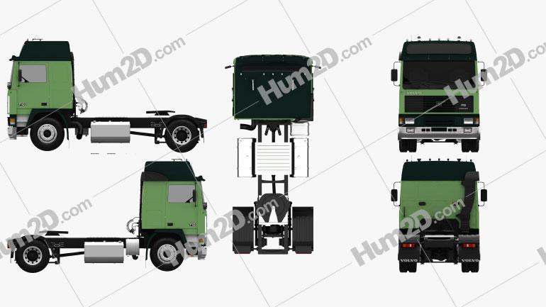 Volvo F10 Tractor Truck 1987 Clipart Image