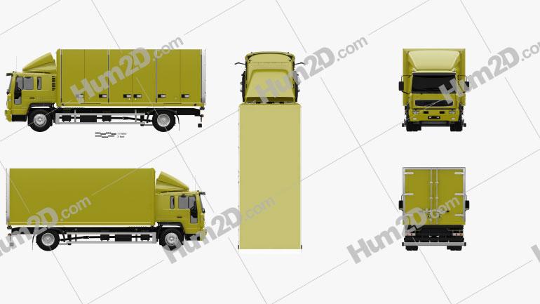 Volvo FL Day Cab Box Truck 2000 clipart