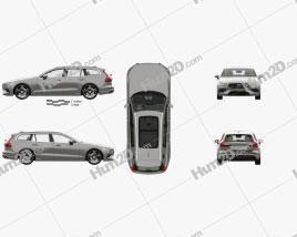 Volvo V60 T6 Inscription with HQ interior 2018 car clipart