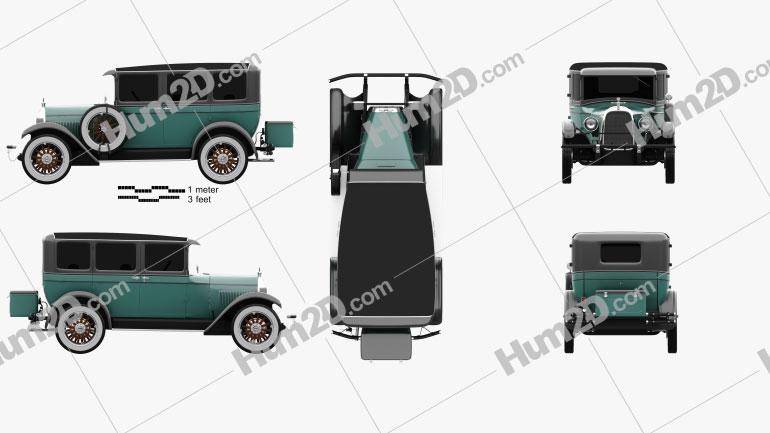 Whippet Model 96 sedan 1927 car clipart