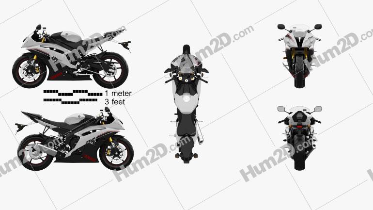 Yamaha YZF-R6 2014 Clipart Image
