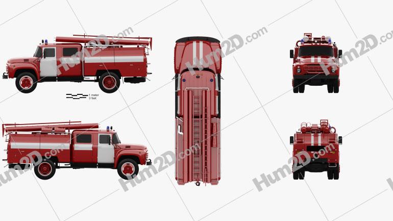 ZIL 130 Fire Truck 1970 clipart