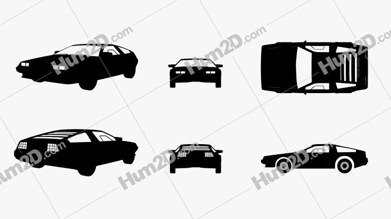 DeLorean DMC-12 Silhueta car clipart