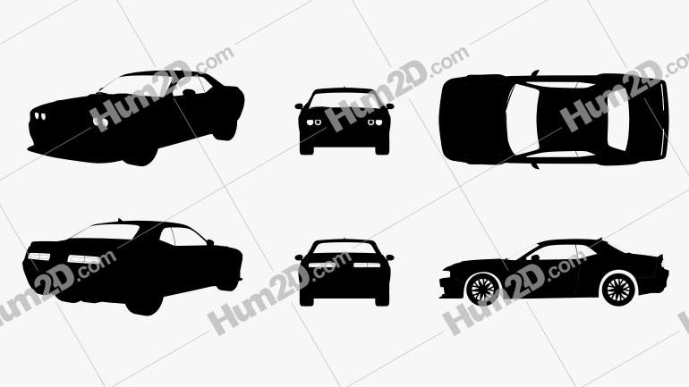 Dodge Challenger SRT Hellcat 2018 Silhouette car clipart