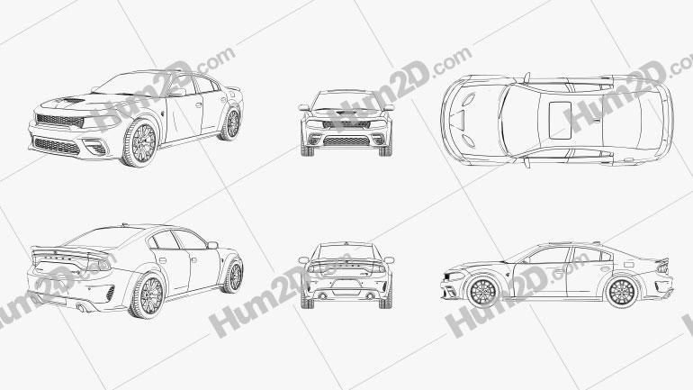 Dodge Charger SRT Hellcat Outline car clipart