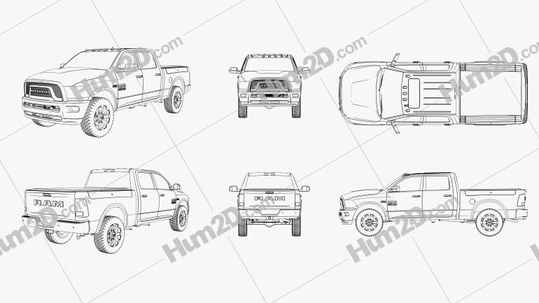 Dodge Ram Power Wagon Outline car clipart