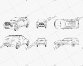 Ford Explorer 2020 Outline car clipart