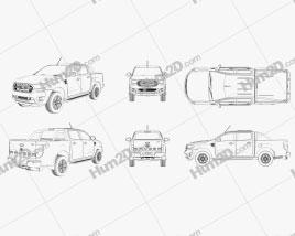 Ford Ranger Pickup Outline car clipart
