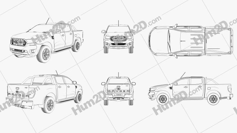 Ford Ranger Pickup Outline Clipart Image