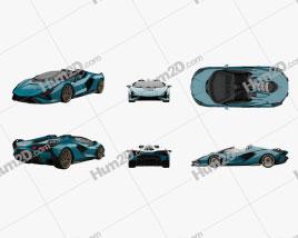 Lamborghini Sian Roadster 2020 car clipart