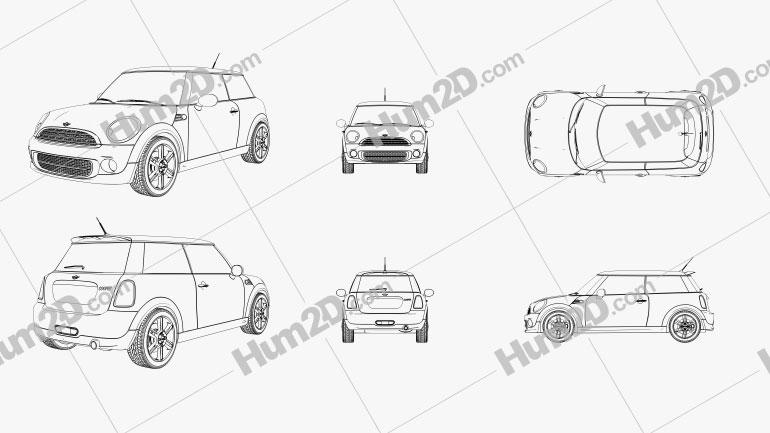 Mini Cooper 2011 Outline car clipart