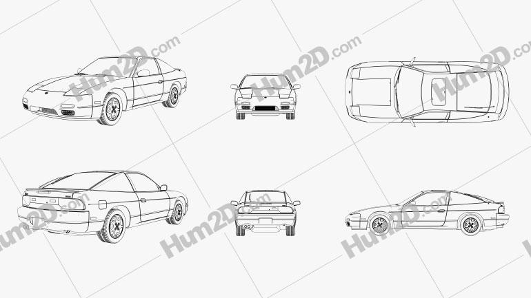 Nissan 240SX Fastback 1989 Outline car clipart