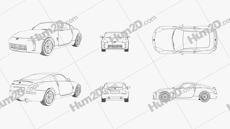Nissan 350Z 2007 Outline car clipart