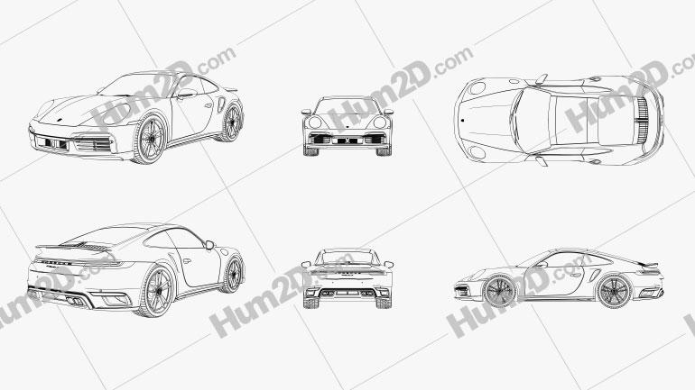 Porsche 911 Turbo S Outline car clipart