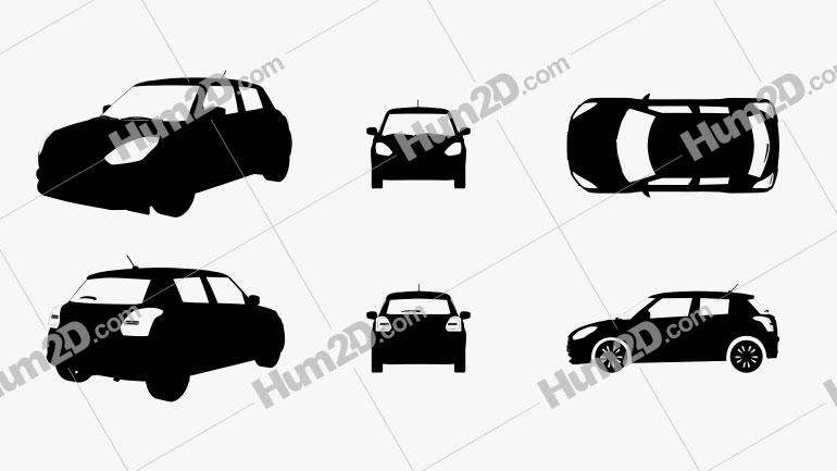 Suzuki Swift Silhueta Imagem Clipart