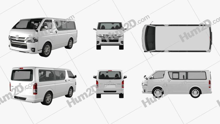 Toyota HiAce LWB Combi 2013 Clipart Image