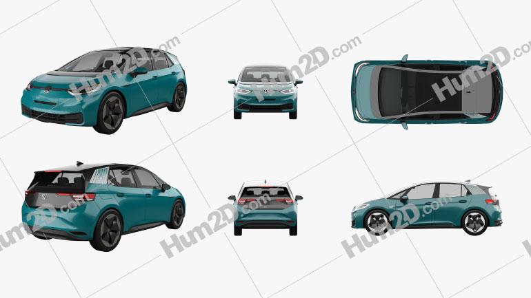 Volkswagen ID.3 2020 Clipart Image
